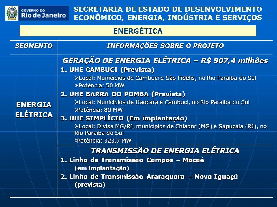 SECRETARIA DE ESTADO DE DESENVOLVIMENTO ECONÔMICO, ENERGIA, INDÚSTRIA E SERVIÇOS ENERGÉTICASEGMENTO INFORMAÇÕES SOBRE O PROJETO ENERGIAELÉTRICA GERAÇÃ