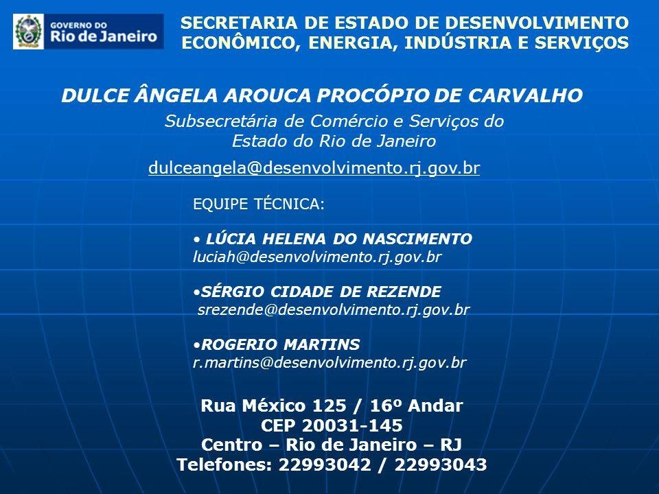 SECRETARIA DE ESTADO DE DESENVOLVIMENTO ECONÔMICO, ENERGIA, INDÚSTRIA E SERVIÇOS DULCE ÂNGELA AROUCA PROCÓPIO DE CARVALHO Subsecretária de Comércio e