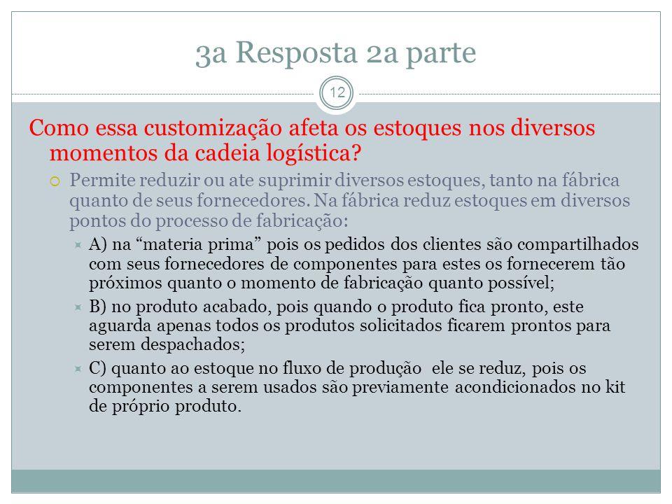 3a Resposta 2a parte 12 Como essa customização afeta os estoques nos diversos momentos da cadeia logística.