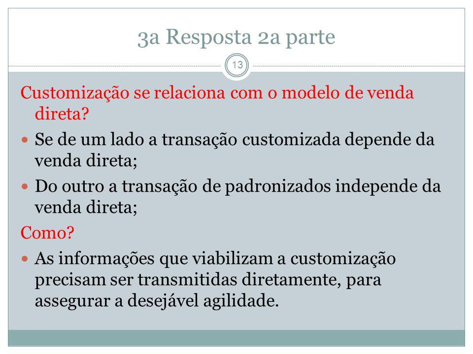 3a Resposta 2a parte 13 Customização se relaciona com o modelo de venda direta.