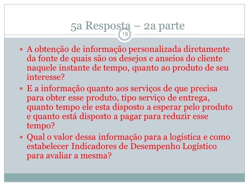 5a Resposta – 2a parte 19 A obtenção de informação personalizada diretamente da fonte de quais são os desejos e anseios do cliente naquele instante de tempo, quanto ao produto de seu interesse.