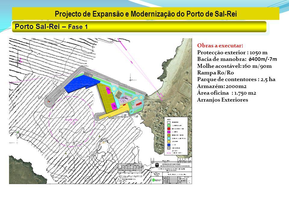 Projecto de Expansão e Modernização do Porto de Sal-Rei Porto Sal-Rei – Fase 1 Obras a executar: Protecção exterior : 1050 m Bacia de manobra: ǿ400m/-