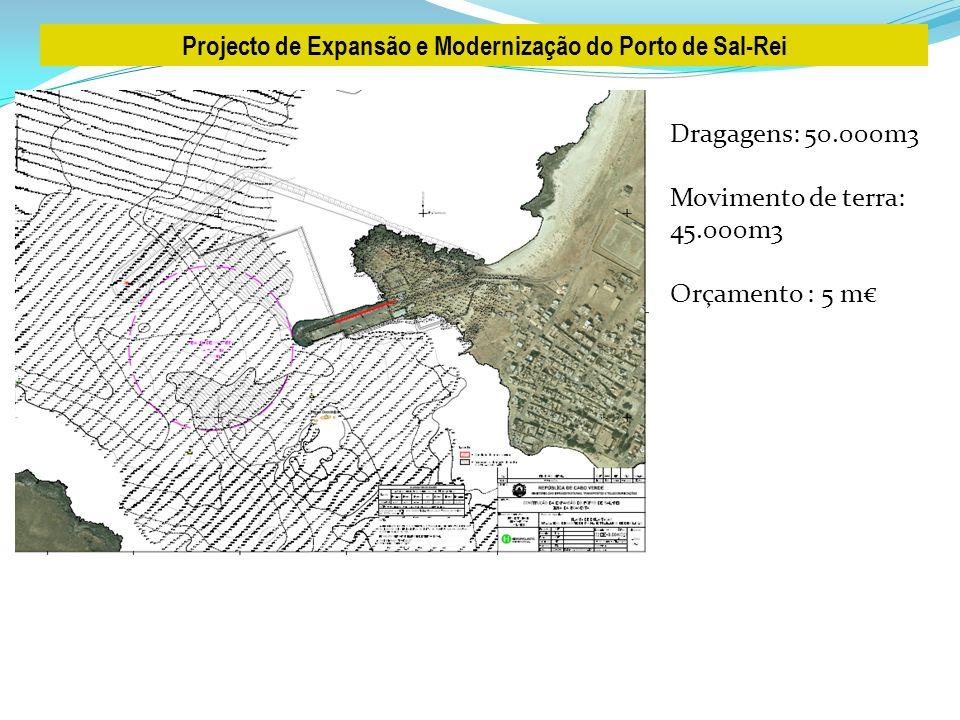 Projecto de Expansão e Modernização do Porto de Sal-Rei Dragagens: 50.000m3 Movimento de terra: 45.000m3 Orçamento : 5 m