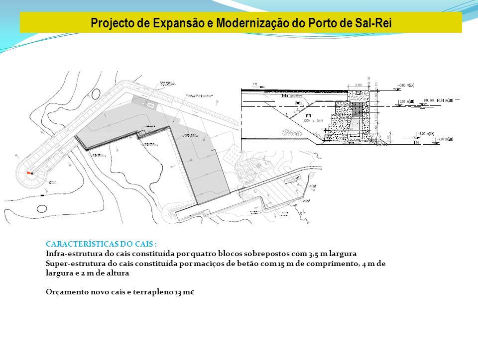 Projecto de Expansão e Modernização do Porto de Sal-Rei CARACTERÍSTICAS DO CAIS : Infra-estrutura do cais constituída por quatro blocos sobrepostos co