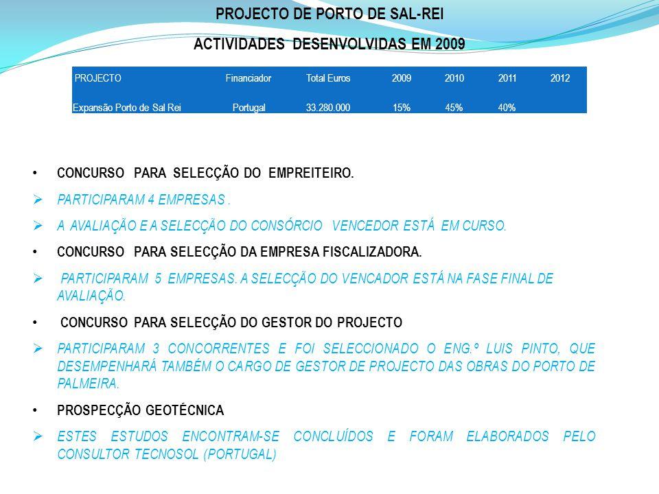 PROJECTO DE PORTO DE SAL-REI ACTIVIDADES DESENVOLVIDAS EM 2009 CONCURSO PARA SELECÇÃO DO EMPREITEIRO. PARTICIPARAM 4 EMPRESAS. A AVALIAÇÃO E A SELECÇÃ