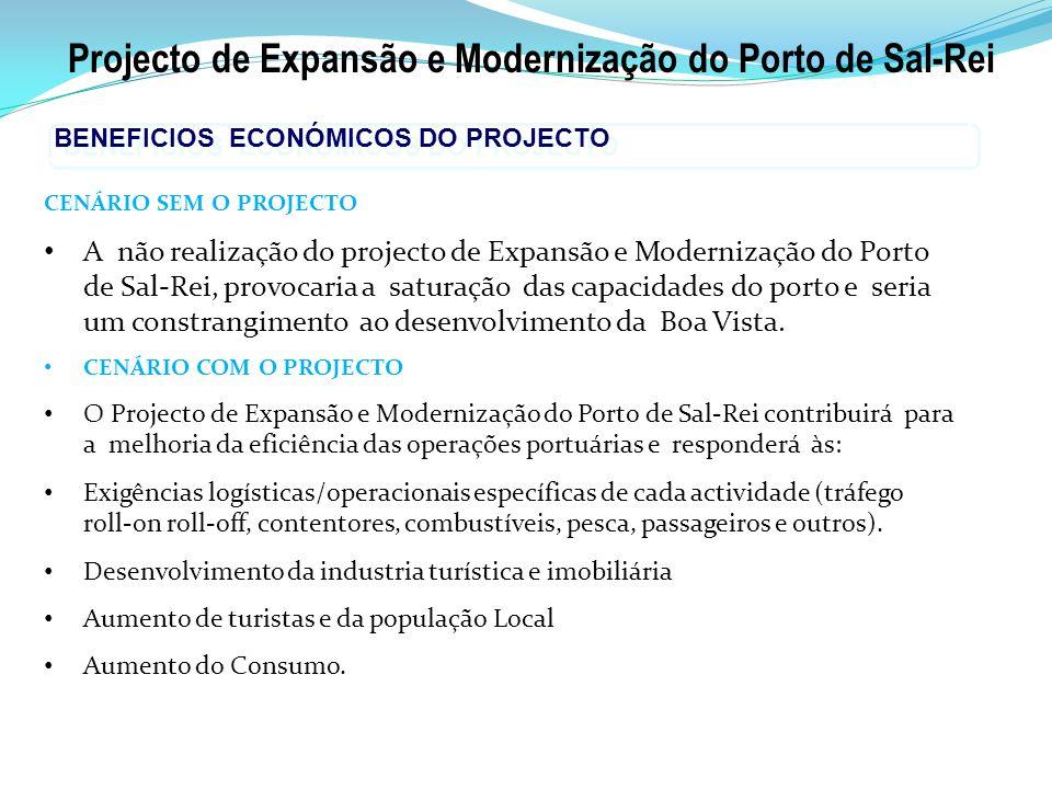 Projecto de Expansão e Modernização do Porto de Sal-Rei BENEFICIOS ECONÓMICOS DO PROJECTO CENÁRIO SEM O PROJECTO A não realização do projecto de Expansão e Modernização do Porto de Sal-Rei, provocaria a saturação das capacidades do porto e seria um constrangimento ao desenvolvimento da Boa Vista.