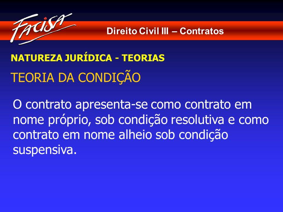 Direito Civil III – Contratos NATUREZA JURÍDICA - TEORIAS TEORIA DA CONDIÇÃO O contrato apresenta-se como contrato em nome próprio, sob condição resolutiva e como contrato em nome alheio sob condição suspensiva.