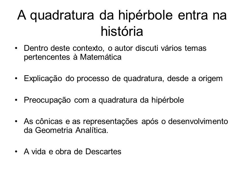 A quadratura da hipérbole entra na história Dentro deste contexto, o autor discuti vários temas pertencentes à Matemática Explicação do processo de quadratura, desde a origem Preocupação com a quadratura da hipérbole As cônicas e as representações após o desenvolvimento da Geometria Analítica.