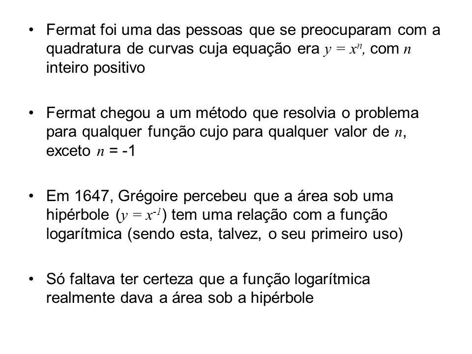 Fermat foi uma das pessoas que se preocuparam com a quadratura de curvas cuja equação era y = x n, com n inteiro positivo Fermat chegou a um método que resolvia o problema para qualquer função cujo para qualquer valor de n, exceto n = -1 Em 1647, Grégoire percebeu que a área sob uma hipérbole ( y = x -1 ) tem uma relação com a função logarítmica (sendo esta, talvez, o seu primeiro uso) Só faltava ter certeza que a função logarítmica realmente dava a área sob a hipérbole
