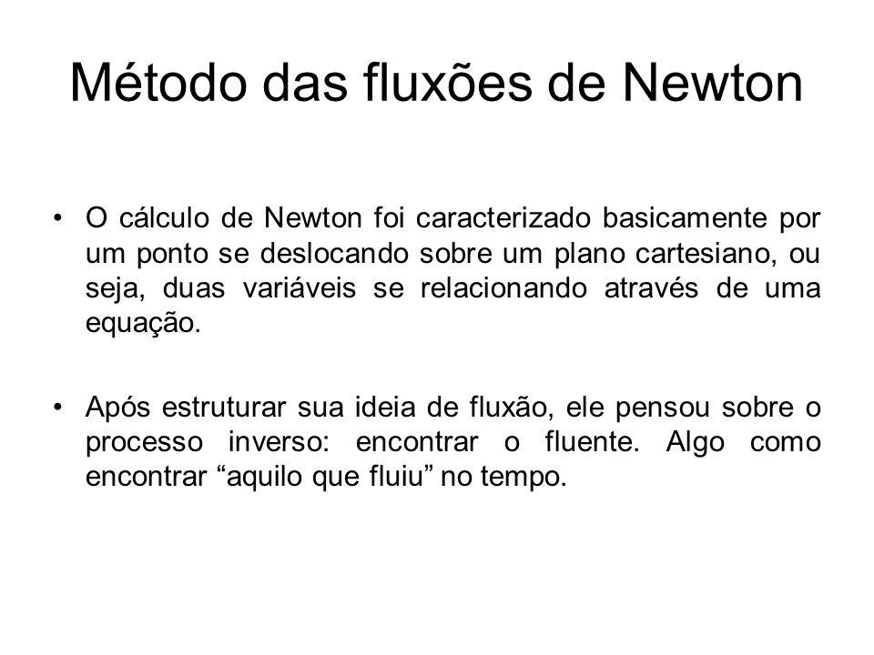 Método das fluxões de Newton O cálculo de Newton foi caracterizado basicamente por um ponto se deslocando sobre um plano cartesiano, ou seja, duas variáveis se relacionando através de uma equação.
