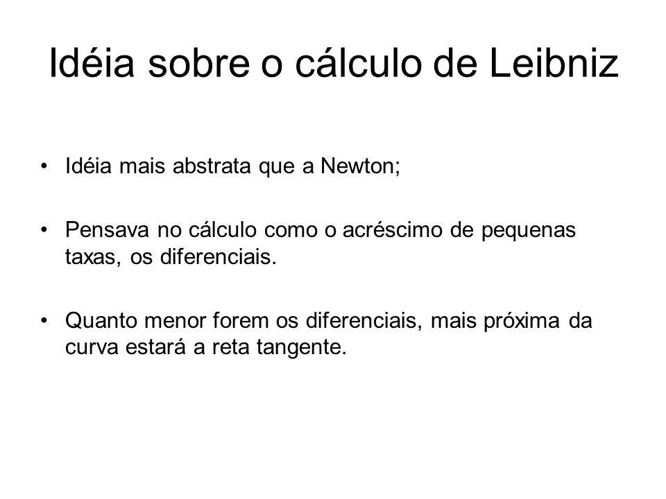 Idéia sobre o cálculo de Leibniz Idéia mais abstrata que a Newton; Pensava no cálculo como o acréscimo de pequenas taxas, os diferenciais.