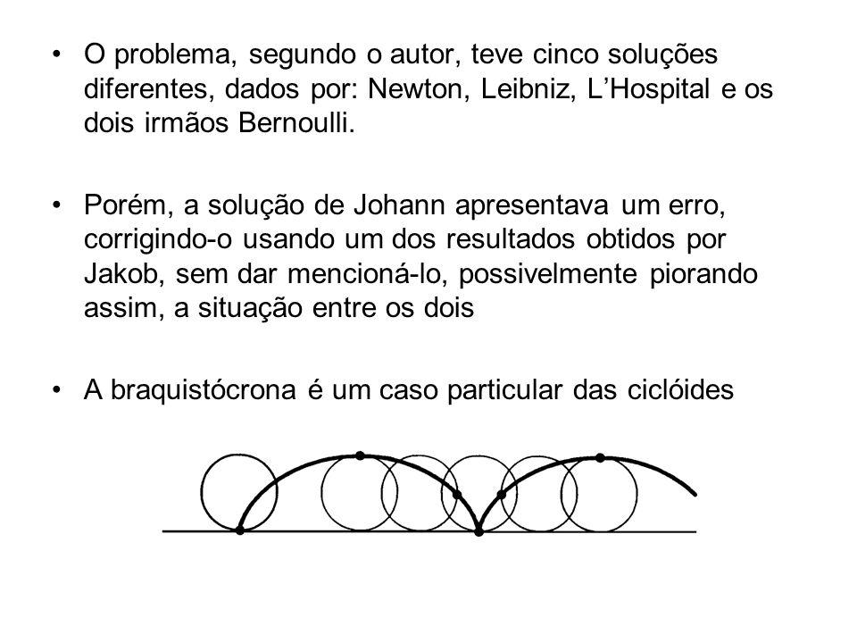 O problema, segundo o autor, teve cinco soluções diferentes, dados por: Newton, Leibniz, LHospital e os dois irmãos Bernoulli.
