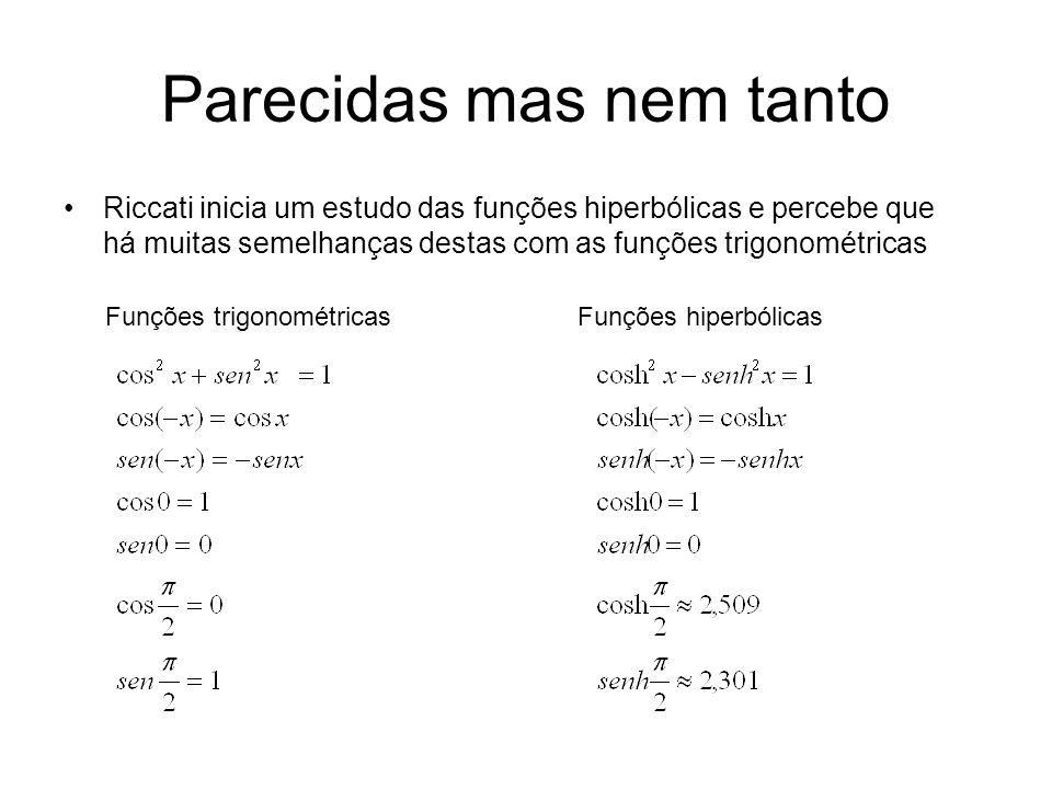 Parecidas mas nem tanto Riccati inicia um estudo das funções hiperbólicas e percebe que há muitas semelhanças destas com as funções trigonométricas Funções trigonométricasFunções hiperbólicas
