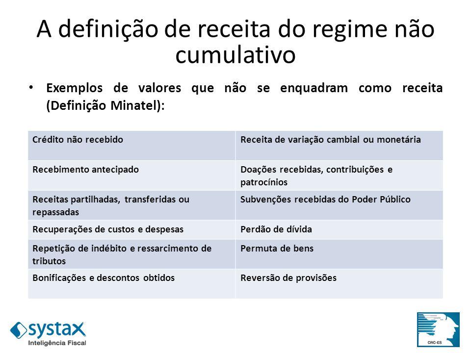 A definição de receita do regime não cumulativo Exemplos de valores que não se enquadram como receita (Definição Minatel): Receita tem na sua essência