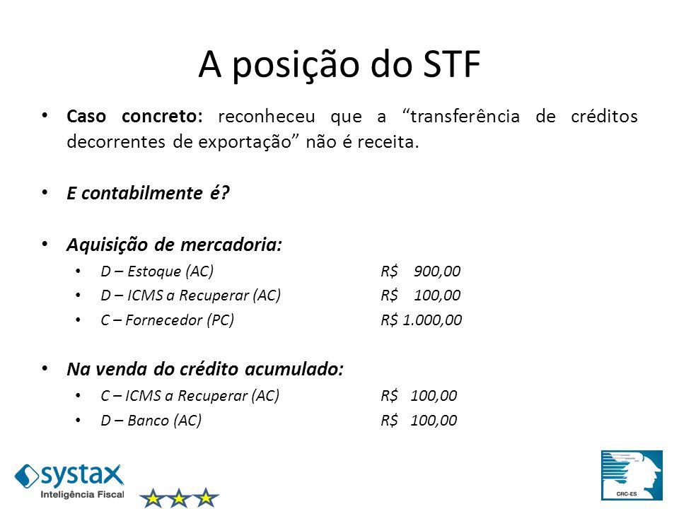 A posição do STF Caso concreto: reconheceu que a transferência de créditos decorrentes de exportação não é receita. E contabilmente é? Aquisição de me