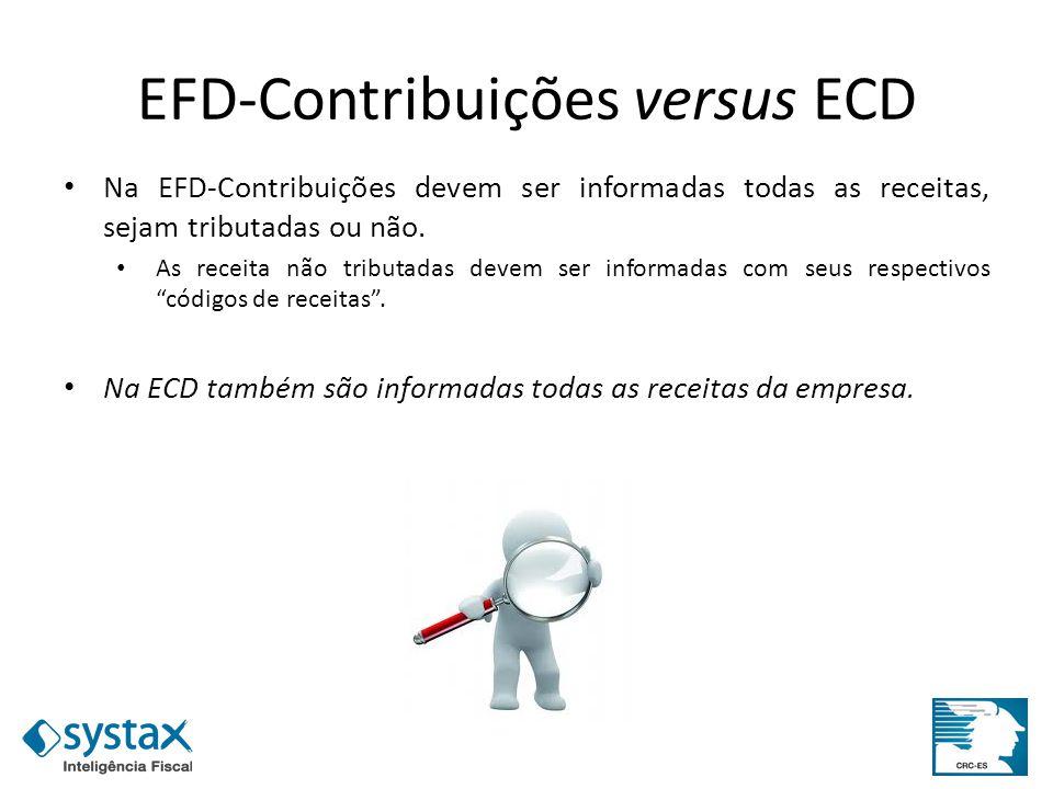 EFD-Contribuições versus ECD Na EFD-Contribuições devem ser informadas todas as receitas, sejam tributadas ou não. As receita não tributadas devem ser