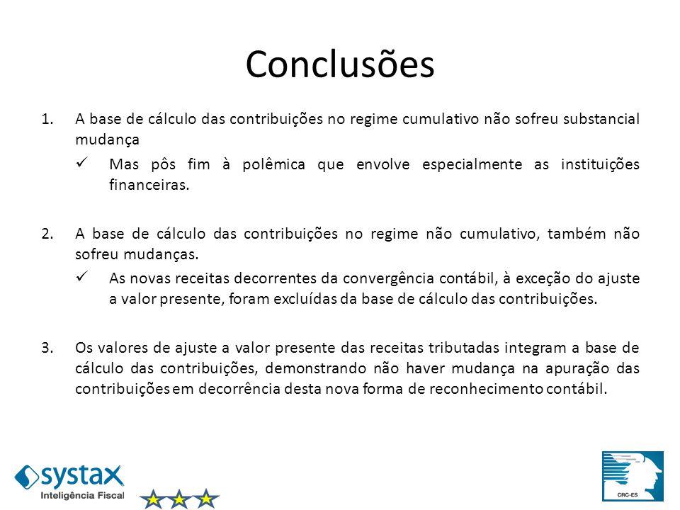 Conclusões 1.A base de cálculo das contribuições no regime cumulativo não sofreu substancial mudança Mas pôs fim à polêmica que envolve especialmente