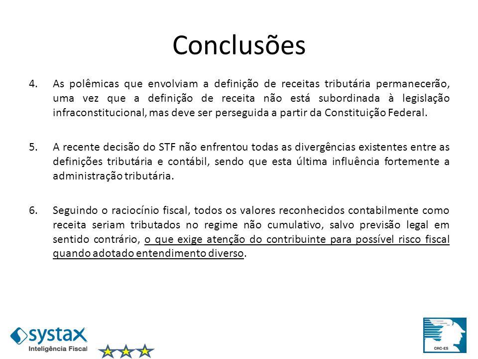 Conclusões 4.As polêmicas que envolviam a definição de receitas tributária permanecerão, uma vez que a definição de receita não está subordinada à leg