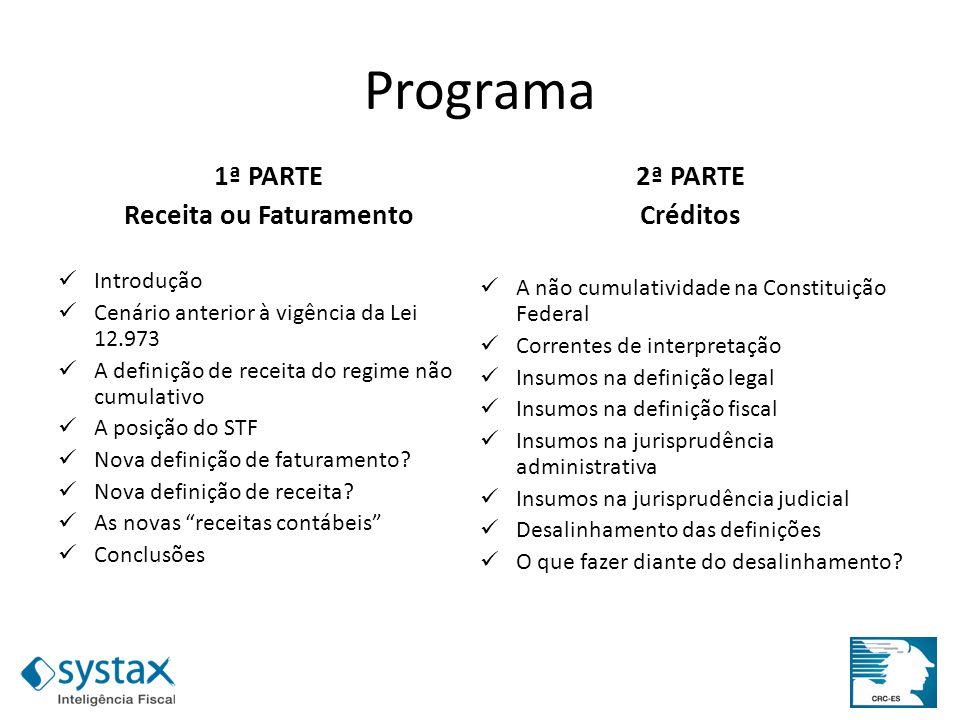 Programa 1ª PARTE Receita ou Faturamento Introdução Cenário anterior à vigência da Lei 12.973 A definição de receita do regime não cumulativo A posiçã