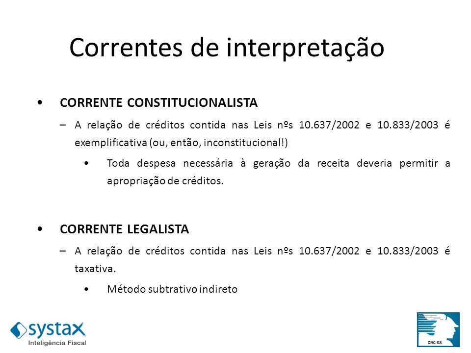 CORRENTE CONSTITUCIONALISTA –A relação de créditos contida nas Leis nºs 10.637/2002 e 10.833/2003 é exemplificativa (ou, então, inconstitucional!) Tod