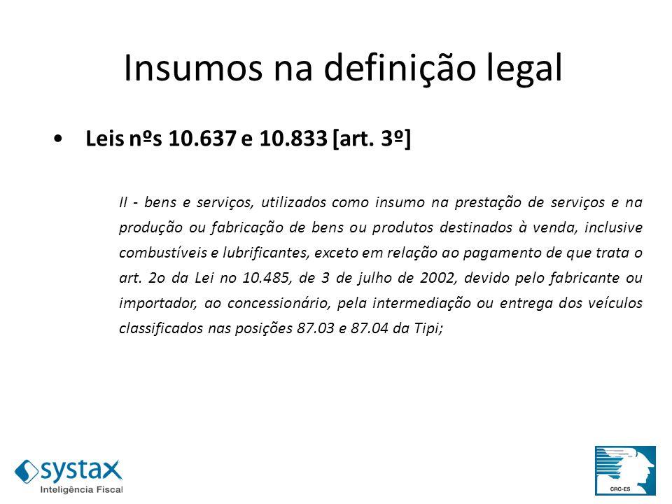 Leis nºs 10.637 e 10.833 [art. 3º] II - bens e serviços, utilizados como insumo na prestação de serviços e na produção ou fabricação de bens ou produt