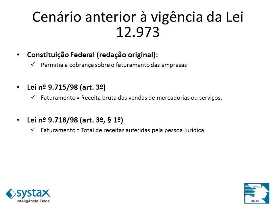 Cenário anterior à vigência da Lei 12.973 Constituição Federal (redação original): Permitia a cobrança sobre o faturamento das empresas Lei nº 9.715/9