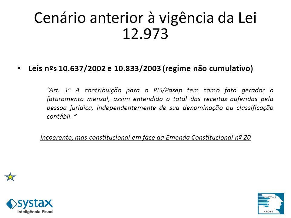 Cenário anterior à vigência da Lei 12.973 Leis nºs 10.637/2002 e 10.833/2003 (regime não cumulativo) Art. 1 o A contribuição para o PIS/Pasep tem como