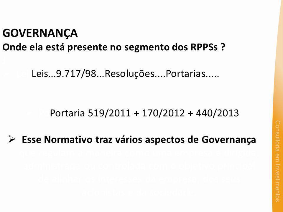GOVERNANÇA Onde ela está presente no segmento dos RPPSs ? J Lei Leis...9.717/98...Resoluções....Portarias..... PoPortaria 519/2011 + 170/2012 + 440/20