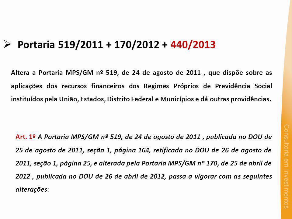 Portaria 519/2011 + 170/2012 + 440/2013 Altera a Portaria MPS/GM nº 519, de 24 de agosto de 2011, que dispõe sobre as aplicações dos recursos financei