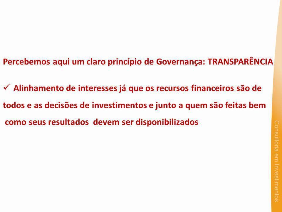 Percebemos aqui um claro princípio de Governança: TRANSPARÊNCIA Alinhamento de interesses já que os recursos financeiros são de todos e as decisões de investimentos e junto a quem são feitas bem como seus resultados devem ser disponibilizados