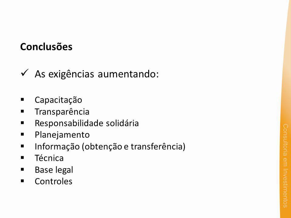 Conclusões As exigências aumentando: Capacitação Transparência Responsabilidade solidária Planejamento Informação (obtenção e transferência) Técnica Base legal Controles