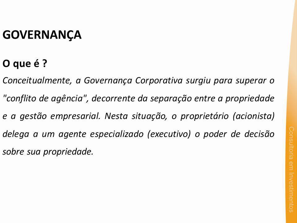 GOVERNANÇA O que é ? Conceitualmente, a Governança Corporativa surgiu para superar o