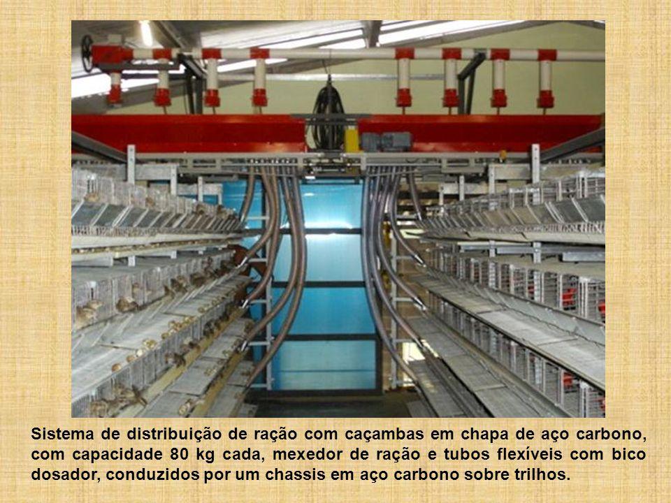 Sistema de distribuição de ração com caçambas em chapa de aço carbono, com capacidade 80 kg cada, mexedor de ração e tubos flexíveis com bico dosador,