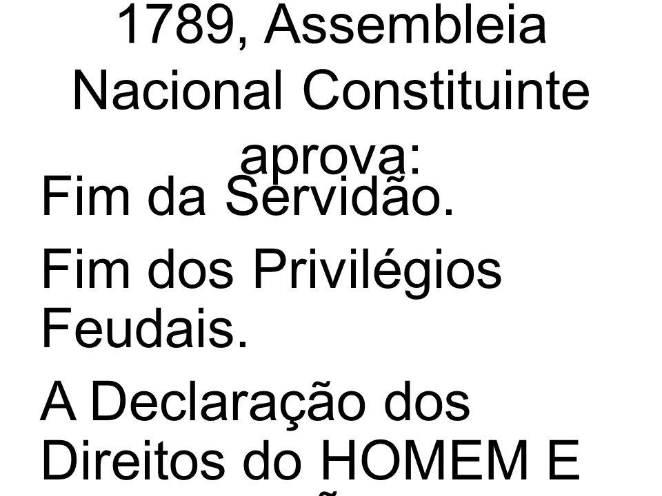 1789, Assembleia Nacional Constituinte aprova: Fim da Servidão.