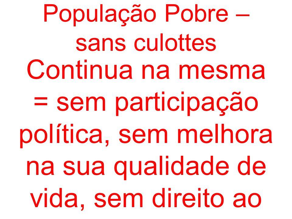População Pobre – sans culottes Continua na mesma = sem participação política, sem melhora na sua qualidade de vida, sem direito ao voto.