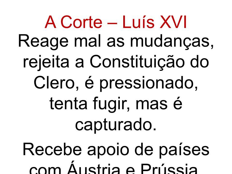 A Corte – Luís XVI Reage mal as mudanças, rejeita a Constituição do Clero, é pressionado, tenta fugir, mas é capturado.