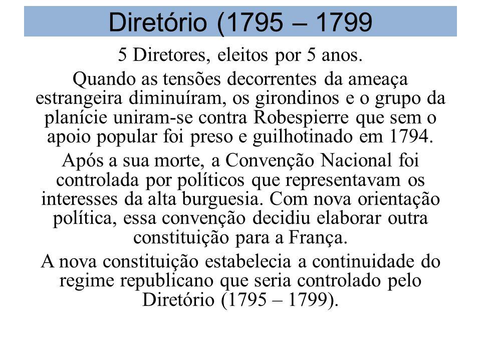 Diretório (1795 – 1799 5 Diretores, eleitos por 5 anos.