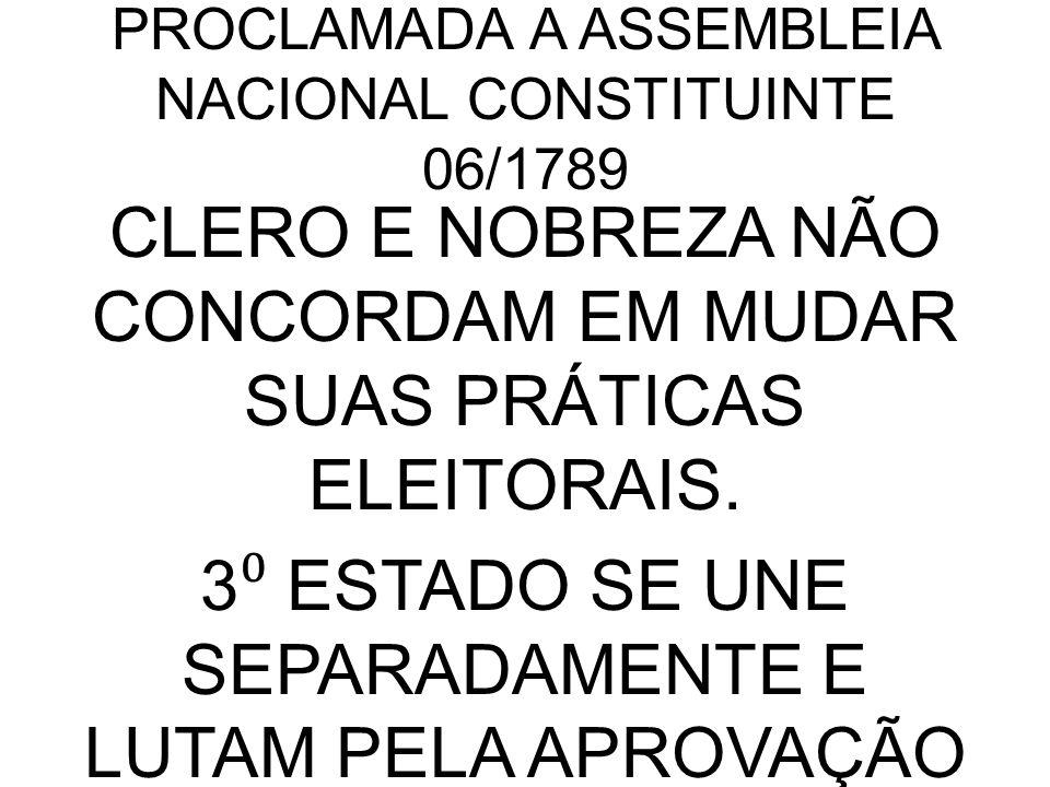 PROCLAMADA A ASSEMBLEIA NACIONAL CONSTITUINTE 06/1789 CLERO E NOBREZA NÃO CONCORDAM EM MUDAR SUAS PRÁTICAS ELEITORAIS.