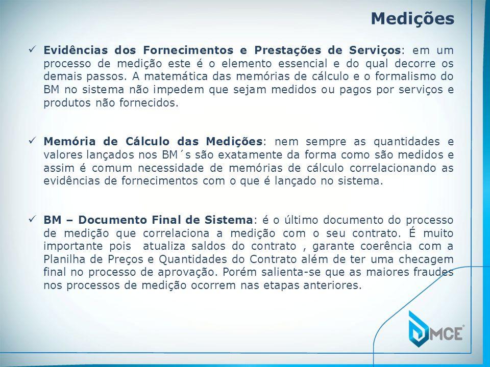 Medições Evidências dos Fornecimentos e Prestações de Serviços: em um processo de medição este é o elemento essencial e do qual decorre os demais pass