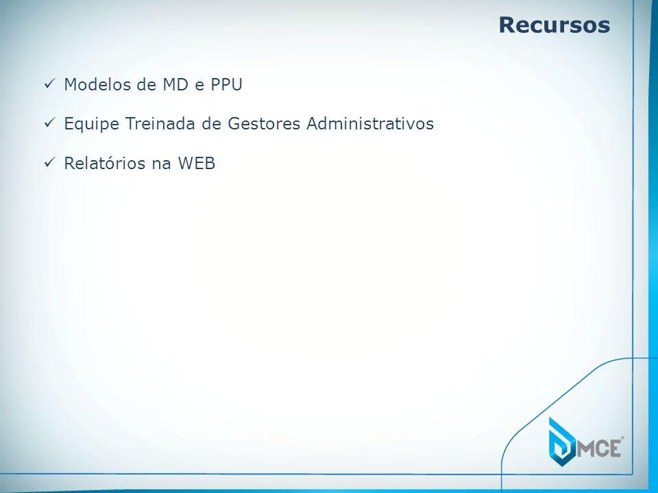 Recursos Modelos de MD e PPU Equipe Treinada de Gestores Administrativos Relatórios na WEB