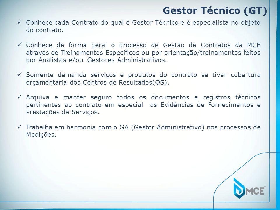 Gestor Técnico (GT) Conhece cada Contrato do qual é Gestor Técnico e é especialista no objeto do contrato. Conhece de forma geral o processo de Gestão