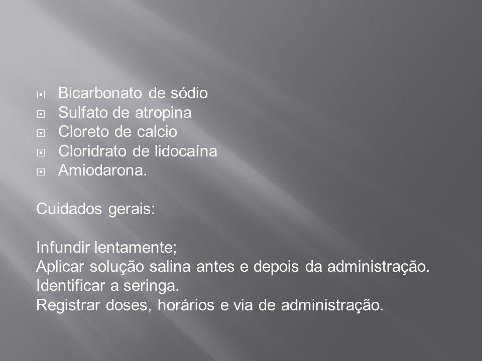 Bicarbonato de sódio Sulfato de atropina Cloreto de calcio Cloridrato de lidocaína Amiodarona.