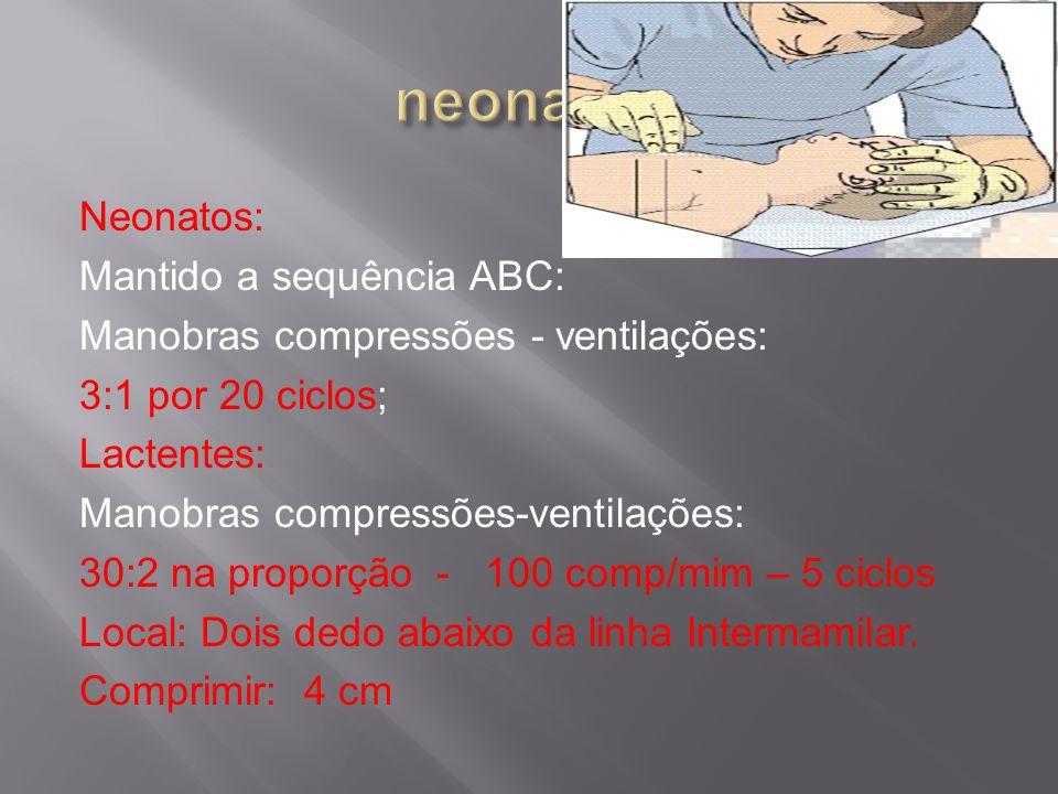 Neonatos: Mantido a sequência ABC: Manobras compressões - ventilações: 3:1 por 20 ciclos; Lactentes: Manobras compressões-ventilações: 30:2 na proporção - 100 comp/mim – 5 ciclos Local: Dois dedo abaixo da linha Intermamilar.