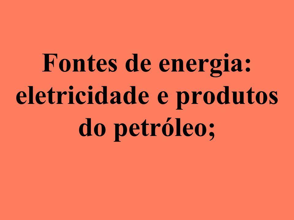 Fontes de energia: eletricidade e produtos do petróleo;