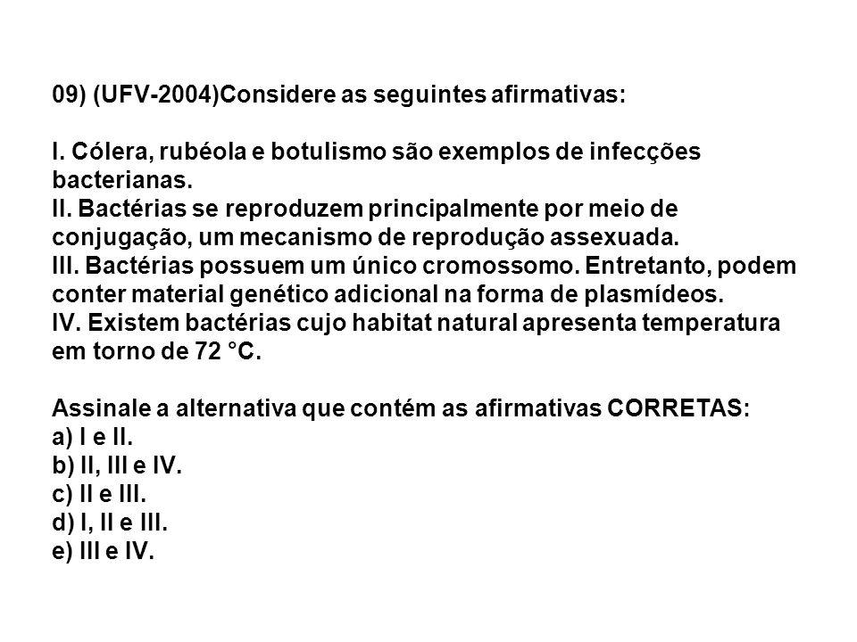 09) (UFV-2004)Considere as seguintes afirmativas: I. Cólera, rubéola e botulismo são exemplos de infecções bacterianas. II. Bactérias se reproduzem pr