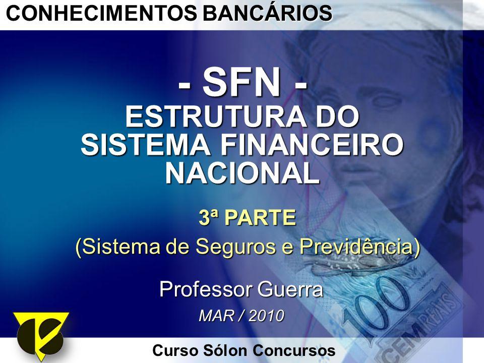 Curso Sólon Concursos CONHECIMENTOS BANCÁRIOS - SFN - ESTRUTURA DO SISTEMA FINANCEIRO NACIONAL 3ª PARTE (Sistema de Seguros e Previdência) Professor G