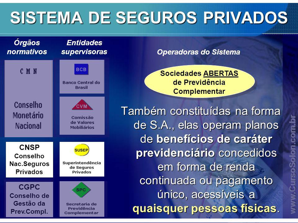 Órgãos normativos CNSP Conselho Nac.Seguros Privados CGPC Conselho de Gestão da Prev.Compl.