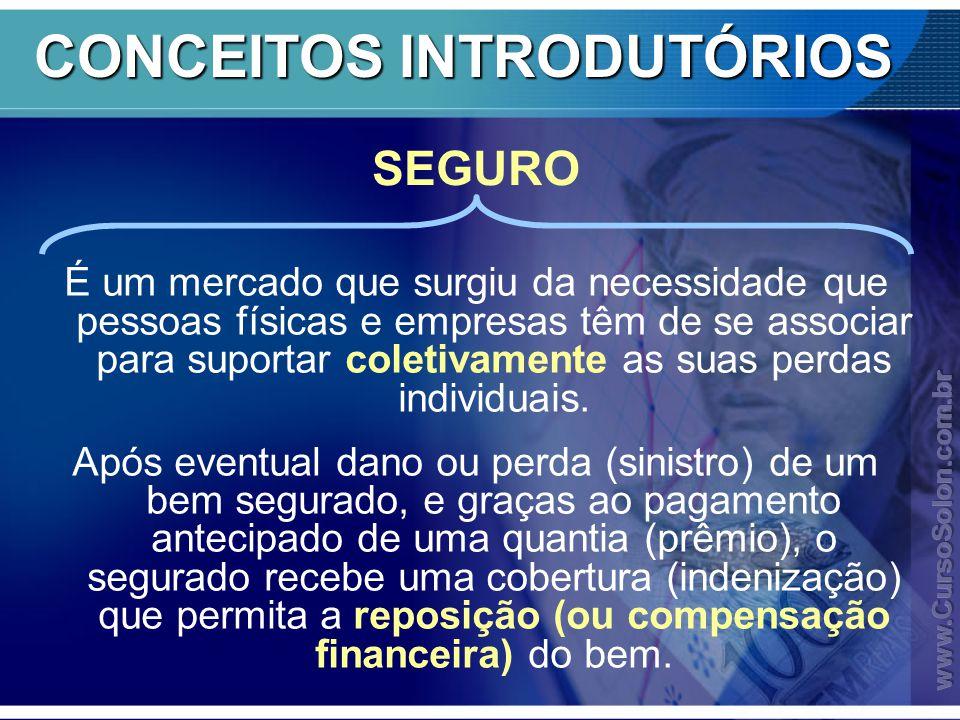 CONCEITOS INTRODUTÓRIOS É um mercado que surgiu da necessidade que pessoas físicas e empresas têm de se associar para suportar coletivamente as suas perdas individuais.