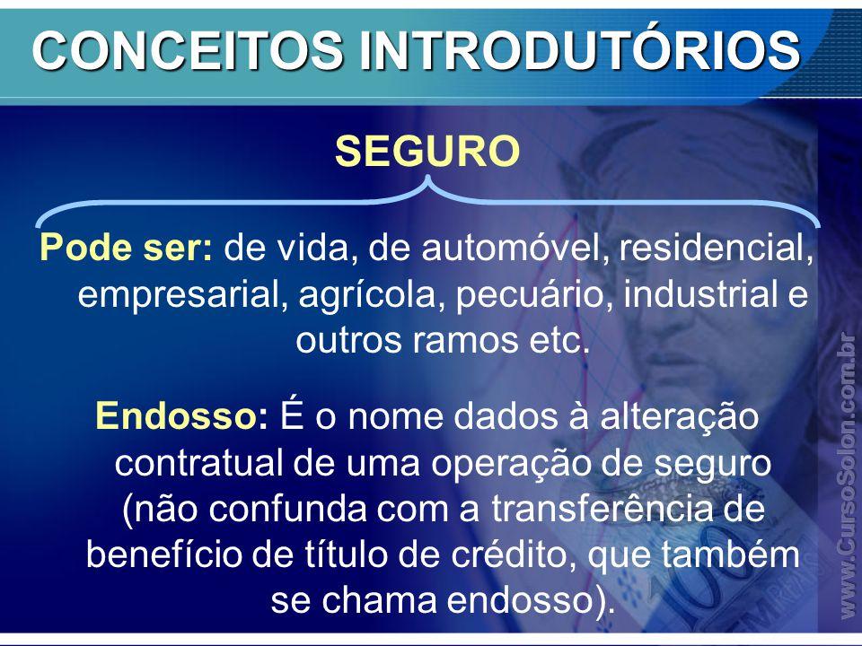 CONCEITOS INTRODUTÓRIOS Pode ser: de vida, de automóvel, residencial, empresarial, agrícola, pecuário, industrial e outros ramos etc. Endosso: É o nom