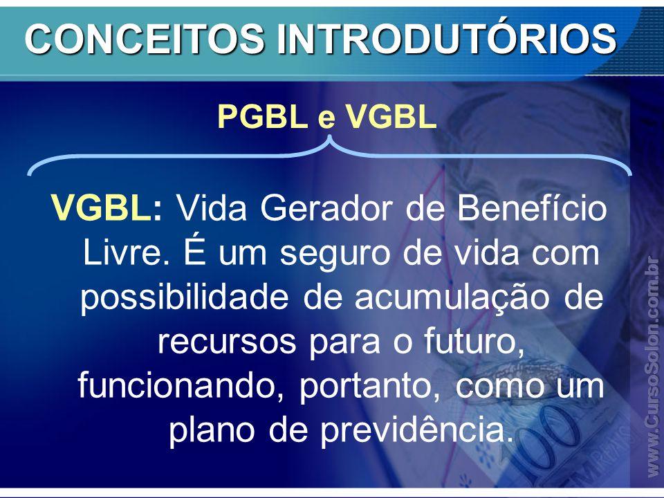 CONCEITOS INTRODUTÓRIOS VGBL: Vida Gerador de Benefício Livre.